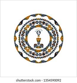business idea icon inside arabic emblem. Arabesque decoration.