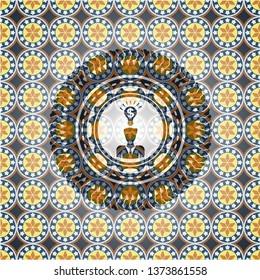 business idea icon inside arabic badge background. Arabesque decoration.