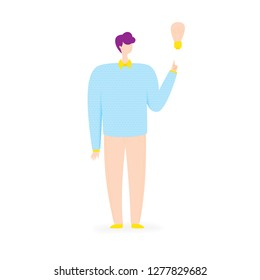Business idea illustration with man and bulb, business concept