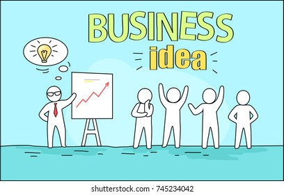 Business idea image representing leader giving a plan and solution of problem at seminar and businessmen reaction to it vector illustration