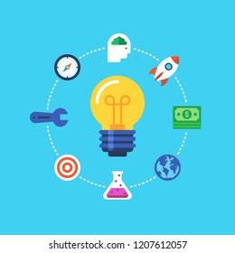 Business Idea, Inovation. Flat design modern vector illustration concept.