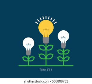Business idea light bulb growing tree concept.