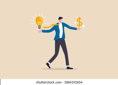 Business idea to make money, innovation and creativity to make profit investment or financial planning concept, smart businessman with lightbulb idea in his hand and money dollar sign on other hand.