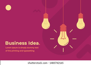 Business Idea Modern Design Concept with Shining Light Bulbs, Headline and Text Place. Suitable for Web banner, Infographics, Hero images. Flat Vector Illustration Isolated on Trendy Background