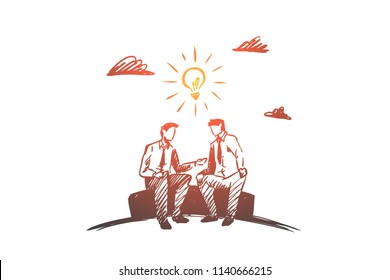 Business idea, partners, together, teamwork concept. Hand drawn business partners discussing project concept sketch. Isolated vector illustration.