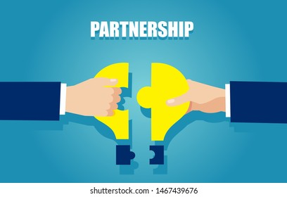Business idea and partnership concept. Vector of two businessmen bringing together puzzle pieces