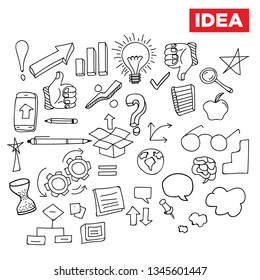 Business idea and business plan vector doodles - Vector