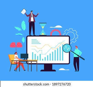 Business idea planning strategy brainstorming analytics concept. Vector flat graphic design illustration