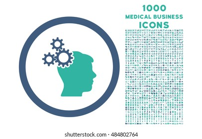 Business Idea rounded vector bicolor icon with 1000 medical business icons. Set style is flat pictograms, cobalt and cyan colors, white background.