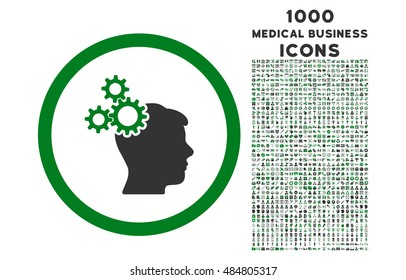 Business Idea rounded vector bicolor icon with 1000 medical business icons. Set style is flat pictograms, green and gray colors, white background.