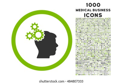 Business Idea rounded vector bicolor icon with 1000 medical business icons. Set style is flat pictograms, eco green and gray colors, white background.