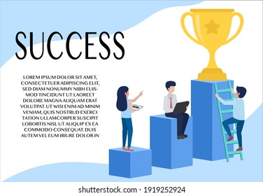 Business idea. Step towards success. People looking for success A woman pointed at the trophy. A man sits on the second platform. And another person climbed the ladder looking for the trophy.