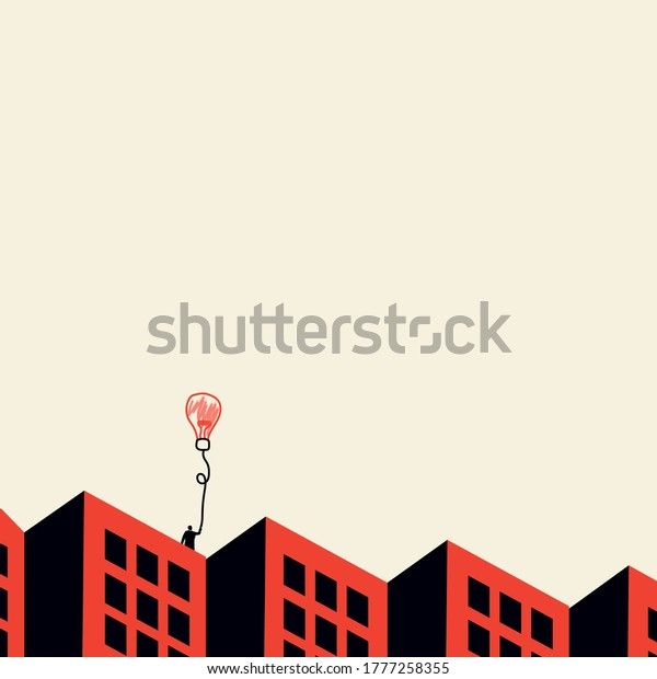 Business ideas concept. A businessman is standing on the roof of a house. Vector