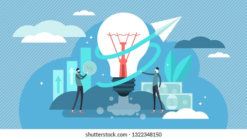 Business ideas vector illustration. Flat tiny creative work persons concept. Symbolic brainstorming and success company strategy. Teamwork finance cooperation and management. Inspirational start up.