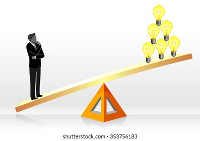 Business Ideas-Conceptual Illustration of a Businessman weighing his ideas
