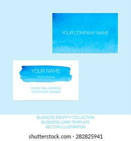 Business identity collection: blue and turquoise watercolor. Front and back sides for business card template. Vector Illustration EPS10.