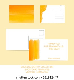 Business identity collection: orange and yellow watercolor. Postcard templates in two size with back side. Vector Illustration EPS10.