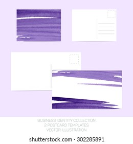 Business identity collection: purple watercolor. Postcard templates in two size with back side. Vector Illustration EPS10.