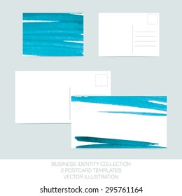 Business identity collection: turquoise tiffany teal watercolor.. Postcard templates in two size with back side. Vector Illustration EPS10.