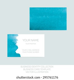Business identity collection: turquoise tiffany teal watercolor. Front and back sides for business card template. Vector Illustration EPS10.