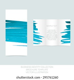 Business identity collection: turquoise tiffany teal watercolor. Tri-fold brochure or flyer template. Vector Illustration EPS10.
