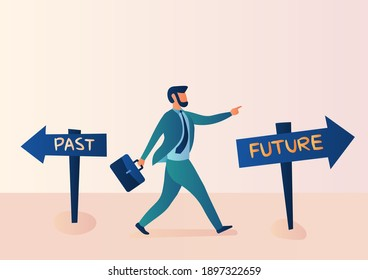 Business illustration, alternative concept, past, and future. Businessmen confidently choose to move forward to the future