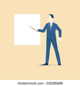 Business illustration of businessman character in suit and tie shows on a white empty banner, board presentation. Business template with space for text