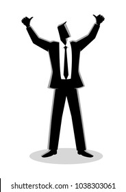 Business illustration of a businessman hands up, doing thumbs up