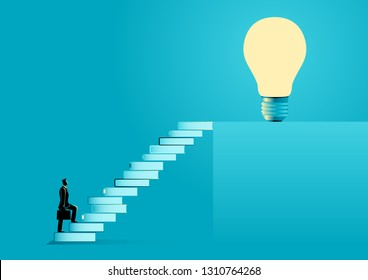 Business illustration of a businessman with suitcase going up the stairs made from books leading up to a light bulb. Education, solution, knowledge for success concept