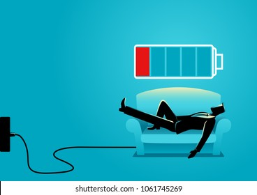 Business illustration of a businessman taking a nap on sofa. Laying, relaxing, recharge, resting concept