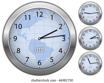 Business illustration with clock's showing time in New York, London and Tokyo