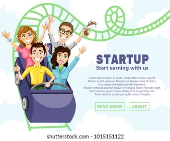 Business illustration with the company of happy people coming down from the roller coaster. Vector illustration for a website. The original banner for the startup.