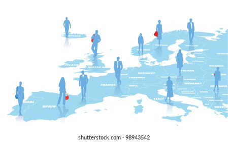 Business illustration with map of Europe
