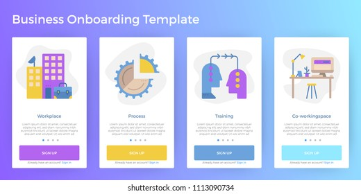 Business illustration mobile screen app onboarding user interface template for smartphone website
