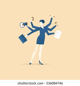 Business illustration of multitasking business woman character in business dress with working devices.