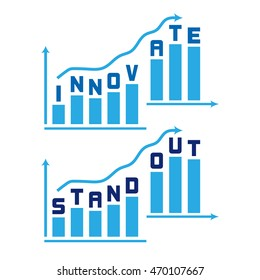 Business improvement graphic. Stand out innovate compete