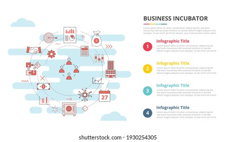 business incubator concept for infographic template banner with four point list information