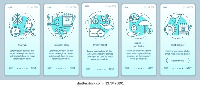 Business industry onboarding mobile app page screen with linear concepts. Startup, project launch walkthrough steps graphic instructions. UX, UI, GUI vector template with illustrations