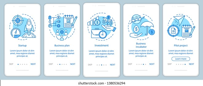 Business industry onboarding mobile app page screen with linear concepts. Stages of company creating walkthrough steps graphic instructions. UX, UI, GUI vector template with illustrations