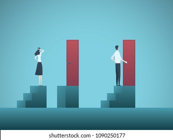 Business inequality vector concept with businessman and businesswoman figure on steps. Symbol of discrimination, gender gap, injustice, unequal opportunities. Eps10 vector illustration.