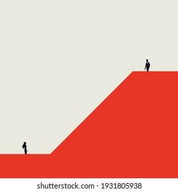 Business inequality vector concept. Man on higher position than woman. Gender based discrimination. Minimal illustration. Eps10 design.