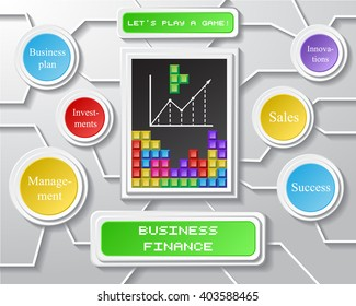 Business info graphic on gray background with game bricks interface