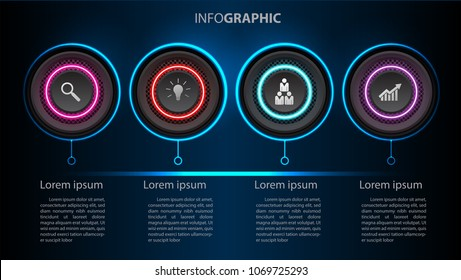 Business info graphic template 4 steps, can be used for workflow layout, diagram, number options, timeline Vector design element illustration /neon light modern futuristic concept