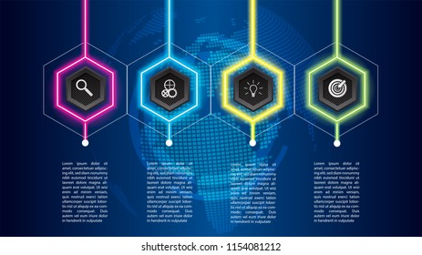 Business info graphic template , can be used for workflow layout, diagram, number options, timeline Vector design element illustration /neon light modern futuristic concept