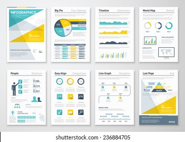 Business info graphics vector elements for corporate brochures. Collection of modern infographic metaphors in a flyer and brochure concept, use for marketing, website, print, presentation etc