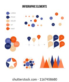 Business Info Visualisation Inforgaphic Elements Vector Set. Blue, Brown, Orange Pie Chart, Circle Diagram, Rating, Target, Path, Bar Presentation Information. Data Collection Inforgaphic Elements