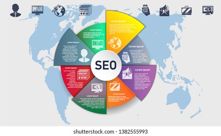 Business infografic. Search engine research. Vector template.