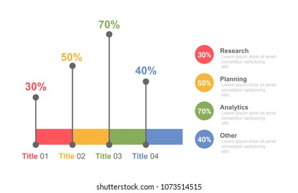 Business infographic bar chart design template colorful style with option, percentage and process for business presentation