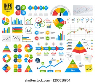 Business infographic chart. Money bag icons. Dollar, Euro, Pound and Yen speech bubbles symbols. USD, EUR, GBP and JPY currency signs. Financial chart. Time counter. Infographic Vector