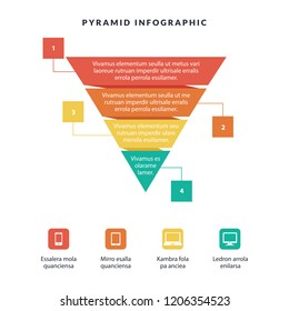 Business Infographic colorful pyramid inverted with 4 floors and icons with description and information.